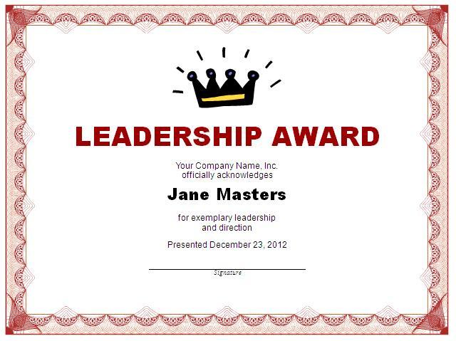 Leadership Award Certificate Printable For Leadership Award Certificate Templates