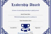 Leadership Award Certificate Template In Navy Blue, Midnight in Leadership Award Certificate Templates