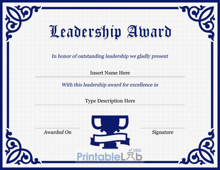 Leadership Award Certificate Template In Navy Blue, Midnight Regarding Leadership Award Certificate Template