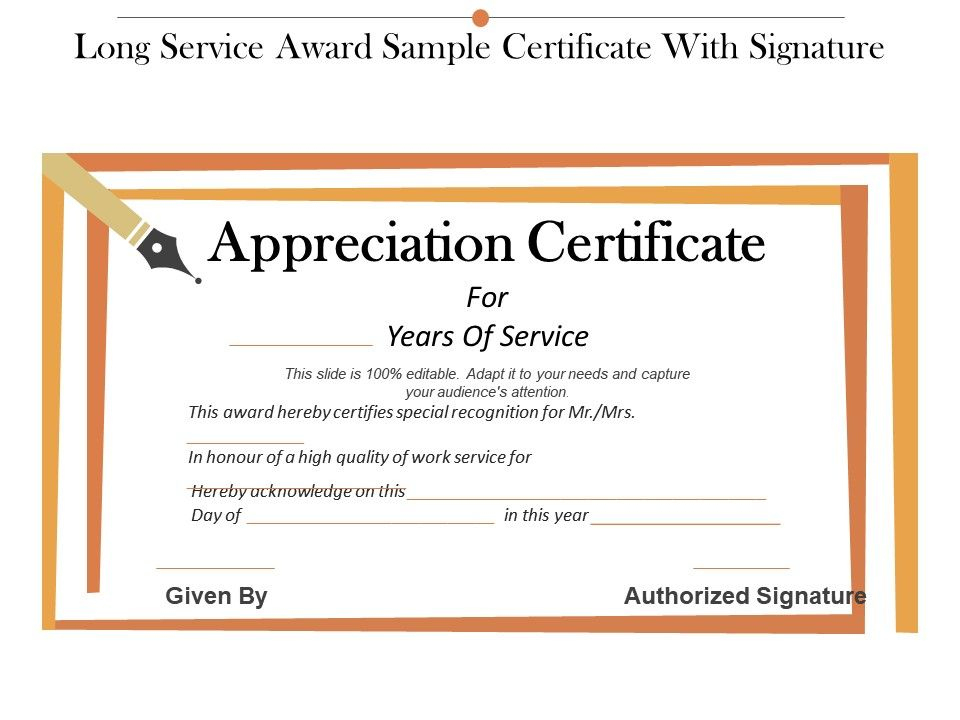 Long Service Award Sample Certificate With Signature For Fresh Long Service Award Certificate Templates