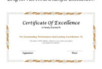 Long Service Award Sample Excellence Certificate | Templates throughout Fresh Long Service Award Certificate Templates