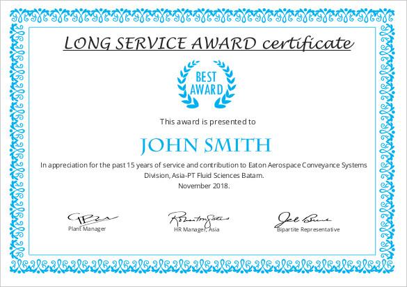 Long Service Certificate Template Sample (7) | Professional regarding Fresh Long Service Award Certificate Templates
