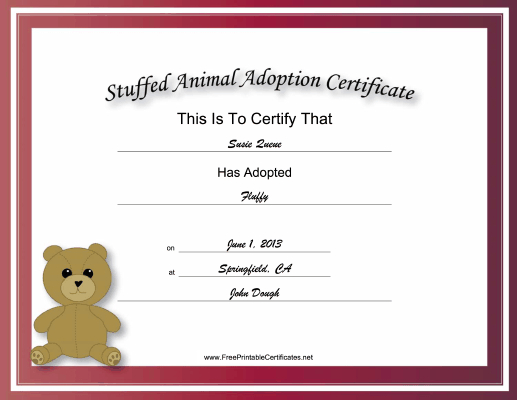 Made To Look Academic And Official, This Free, Printable Throughout Stuffed Animal Birth Certificate Template 7 Ideas