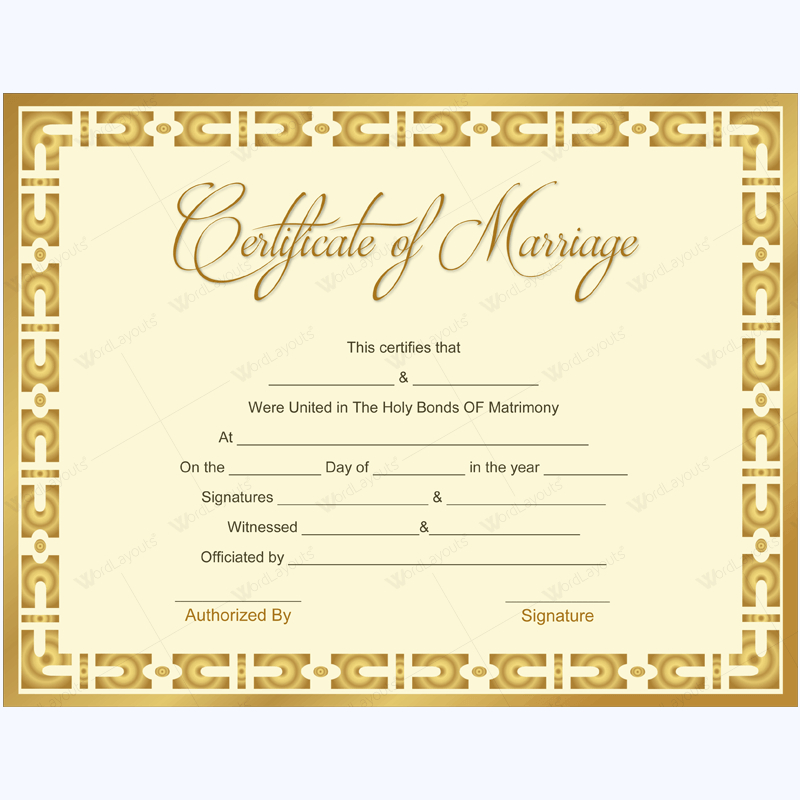 Marriage Certificate 10 - Word Layouts | Marriage Inside Marriage Certificate Template Word 10 Designs