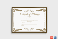 Marriage Certificate Format (Brown) within Fresh Marriage Certificate Editable Template