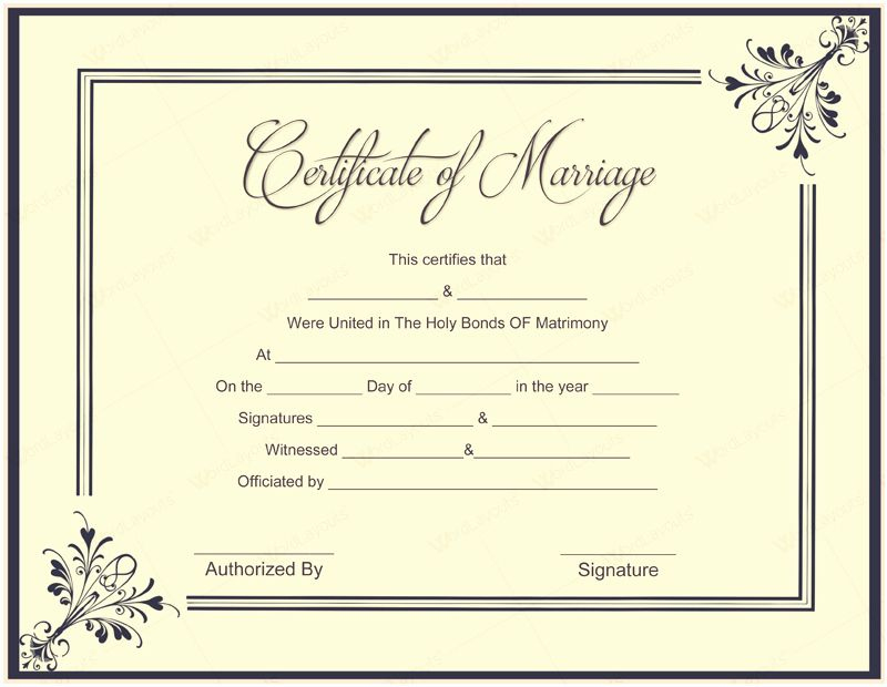 Marriage Certificate Template Microsoft Word Elegant 10 regarding Marriage Certificate Template Word 10 Designs
