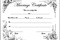 Marriage Certificate Templates – Microsoft Word Templates with regard to Fresh Marriage Certificate Editable Template