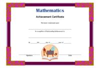 Math Achievement Certificate Template 1 Free | Certificate for Math Achievement Certificate Templates