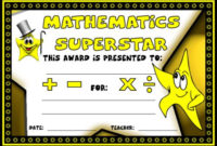 Math Awards Certificates intended for Math Certificate Template 7 Excellence Award
