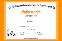 Mathematics Academic Certificate Printable Certificate regarding Academic Achievement Certificate Template