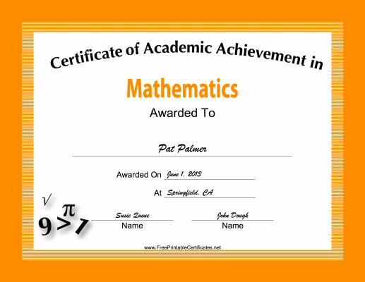 Mathematics Academic Certificate Printable Certificate With Regard To Fresh Math Award Certificate Templates