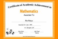 Mathematics Academic Certificate Printable Certificate within 9 Math Achievement Certificate Template Ideas