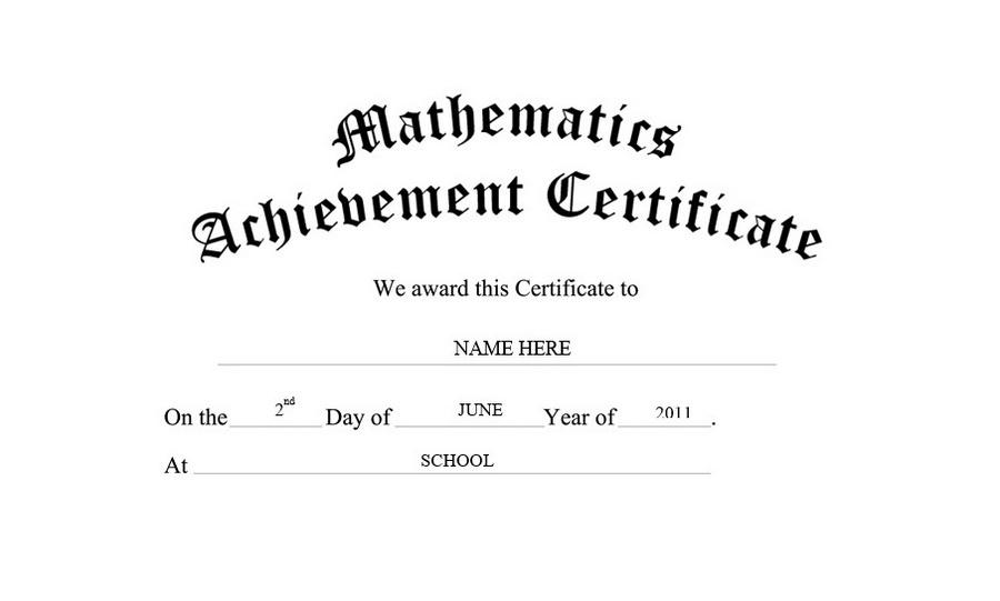 Mathematics Achievement Certificate Free Templates Clip Art Within Best Math Achievement Certificate Printable