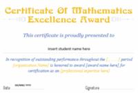 Mathematics Excellence Award Certificates | Professional inside Math Certificate Template 7 Excellence Award