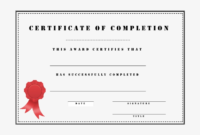 Medium Size Of Certificate Of Completion Template Free intended for Training Completion Certificate Template
