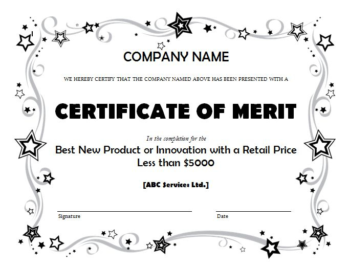 Merit Award Business Certificate Template In Certificate Of Merit Templates Editable