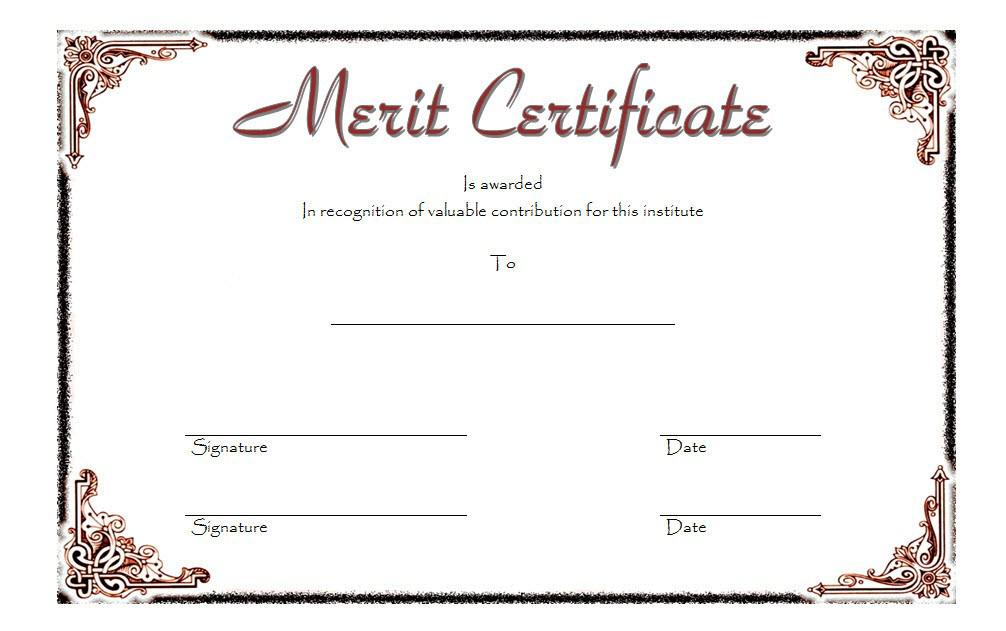 Merit Certificate Template 4 Free | Certificate Templates In Certificate Of Merit Templates Editable