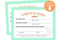 Mint Bunny Rabbit Adoption Certificates, Bunny Party Decor, Adoption  Center, Party Favors – Instant Download regarding Rabbit Adoption Certificate Template 6 Ideas Free