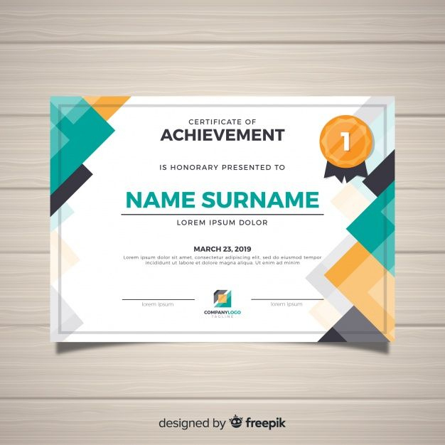 Modern Certificate Template In Flat Style Free Vector For Unique Travel Certificates 10 Template Designs 2019 Free