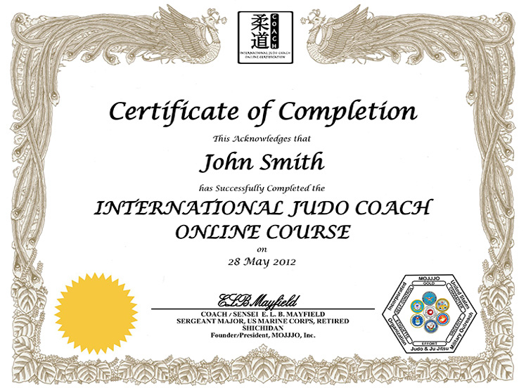 Mojjjo International Judo Coach Certification For Best Coach Certificate Template