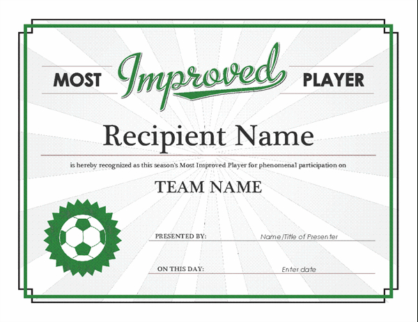 Most Improved Player Award Certificate throughout Most Improved Player Certificate Template