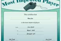 Most Improved Player Certificate Printable Certificate with Best Most Improved Player Certificate Template