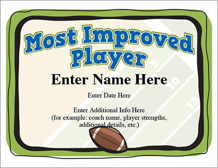 Most Improved Player Football Certificate | Award Template Inside Most Improved Player Certificate Template