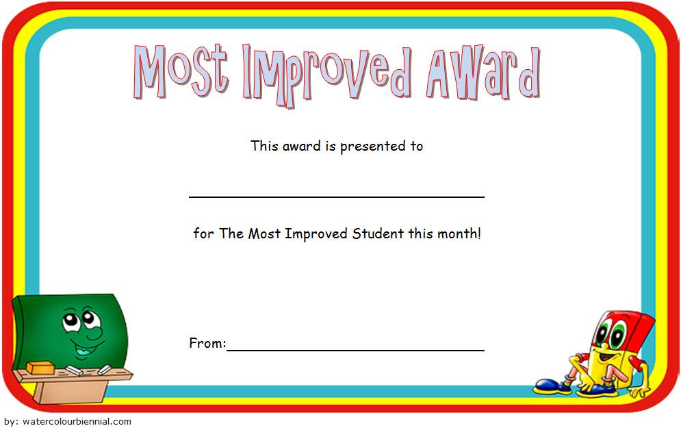 Most Improved Student Award Certificate Template Free 1 throughout Most Improved Student Certificate
