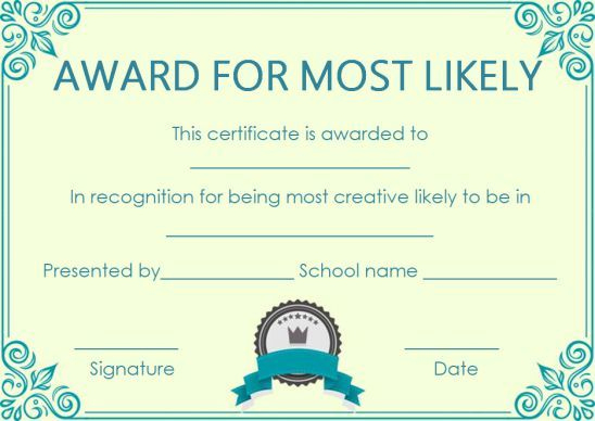 Most Likely Paper Plate Award | Award Certificates, Most In Free Most Likely To Certificate Templates