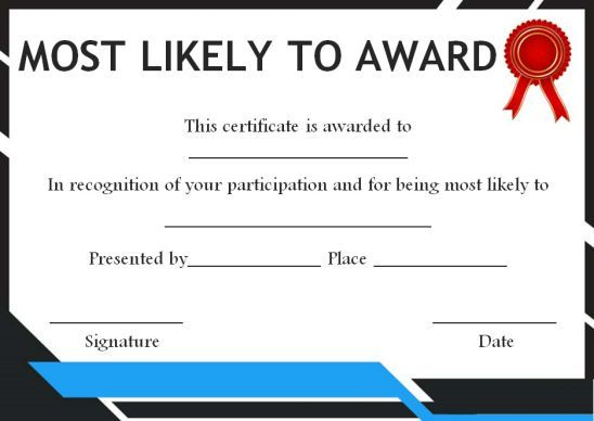 Most Likely To Award For Adults In 2020 | Most Likely To for Most Likely To Certificate Template Free