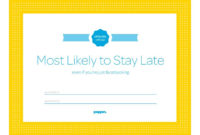 Most Likely To Stay Late Certificate From Poppin | Funny with Unique Free Most Likely To Certificate Templates