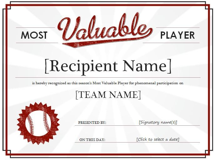 Most Valuable Player Award Certificate: It Is A Recognition Throughout Best Mvp Award Certificate Templates Free Download