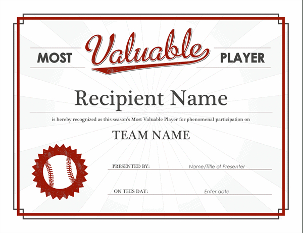 Most Valuable Player Award Certificate with Best Mvp Certificate Template