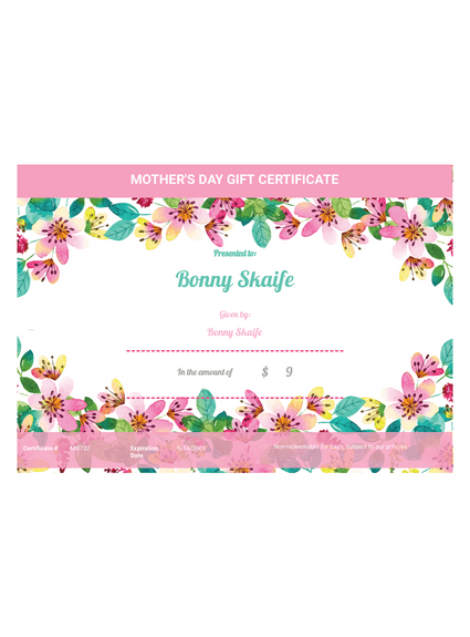 Mother'S Day Gift Certificate Template - Pdf Templates | Jotform with Unique Mothers Day Gift Certificate Templates