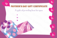 Mother'S Day Gift Certificate Template (Present, #6630) In with regard to Mothers Day Gift Certificate Templates