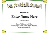 Ms. Softball Award – Certificate Template – Fast Pitch And Slow for Fresh Printable Softball Certificate Templates