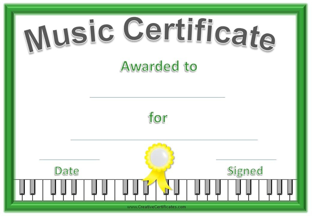 Music Certificate Template - Free And Customizable For Piano Certificate Template Free Printable