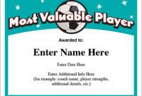 Mvp Soccer Certificate Template – Free Award Certificates throughout Best Mvp Award Certificate Templates Free Download