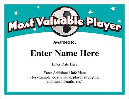 Mvp Soccer Certificate Template - Free Award Certificates Throughout Best Mvp Award Certificate Templates Free Download