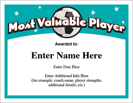 Mvp Soccer Certificate Template - Free Award Certificates with Soccer Mvp Certificate Template
