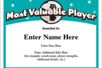 Mvp Soccer Certificate Template – Free Award Certificates within Mvp Certificate Template