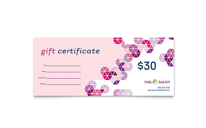 Nail Salon Gift Certificate Template Design intended for Unique Nail Salon Gift Certificate Template