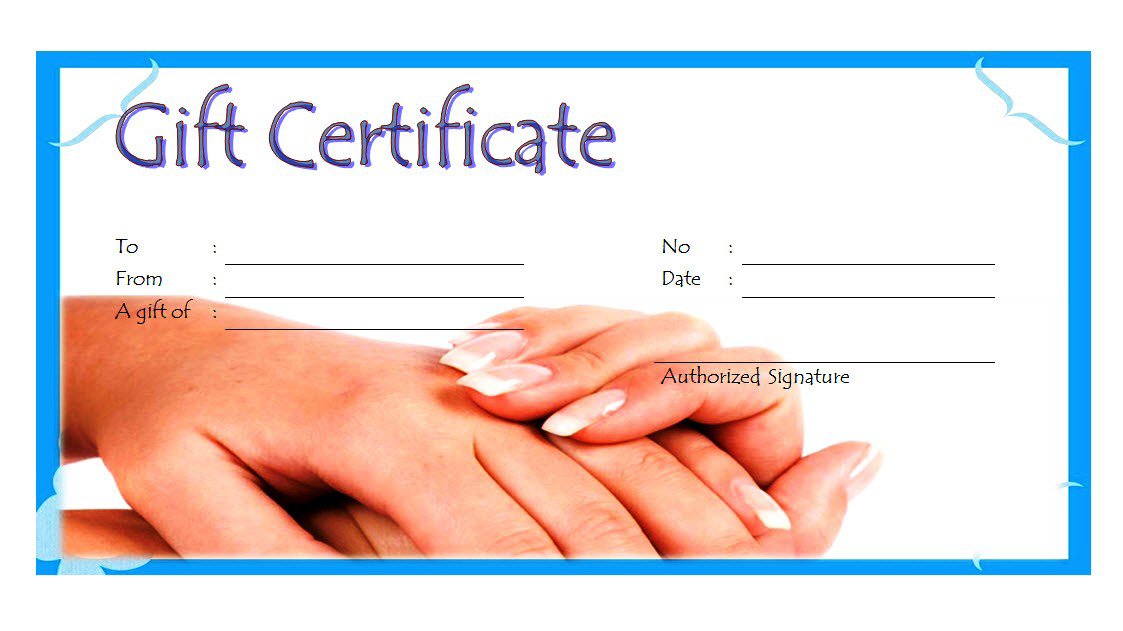 Nail Salon Gift Certificate Template Free Printable 4 In throughout Free Printable Manicure Gift Certificate Template