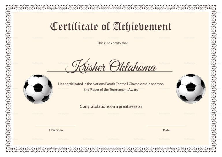 National Youth Football Certificate Template With Football intended for Best Youth Football Certificate Templates