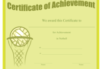 Netball Achievement Certificate Template Download Printable pertaining to Fresh Netball Achievement Certificate Editable Templates