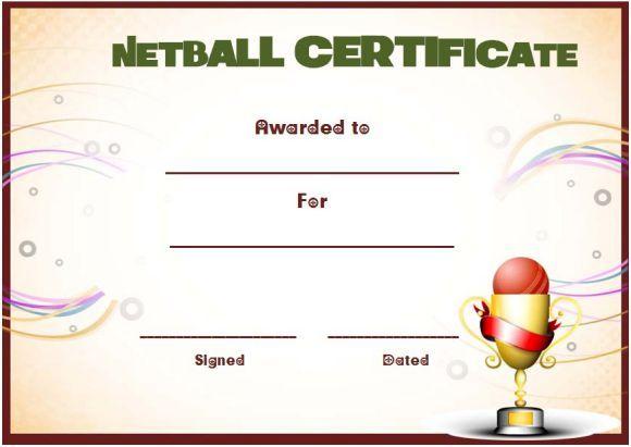 Netball Award Certificate Template | Awards Certificates regarding Fresh Netball Certificate