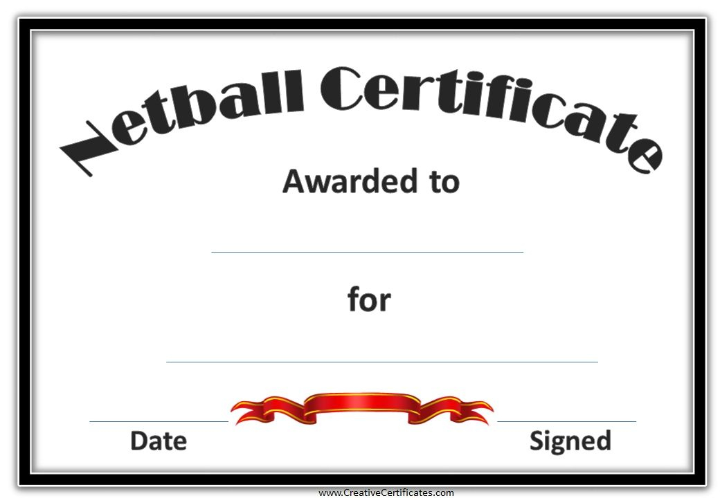 Netball Certificates   Netball, Award Template, Free For Netball Certificate Templates