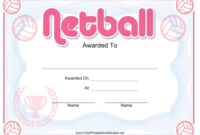 Netball Pink Certificate Template Download Printable Pdf in Fresh Netball Achievement Certificate Editable Templates