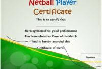 Netball Player Certificate | Certificate Templates inside Unique Netball Certificate Templates