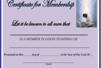 New Member Certificate Template (5) – Templates Example intended for Best Membership Certificate Template Free 20 New Designs